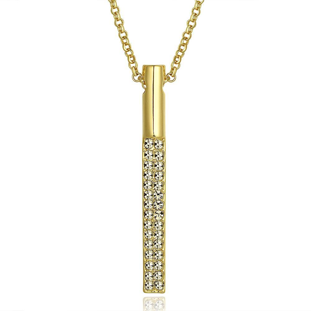 Vienna Jewelry Gold Vertical Geometric Drop Necklace