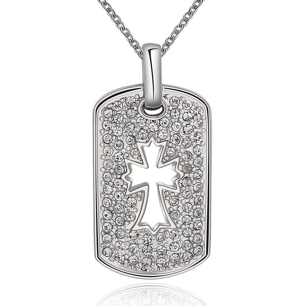 Vienna Jewelry White Gold Plated Cross Hollow Dog Tag Necklace
