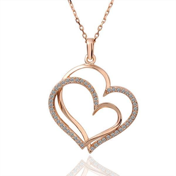 Vienna Jewelry Rose Gold Plated Double Overlayering Heart Necklace