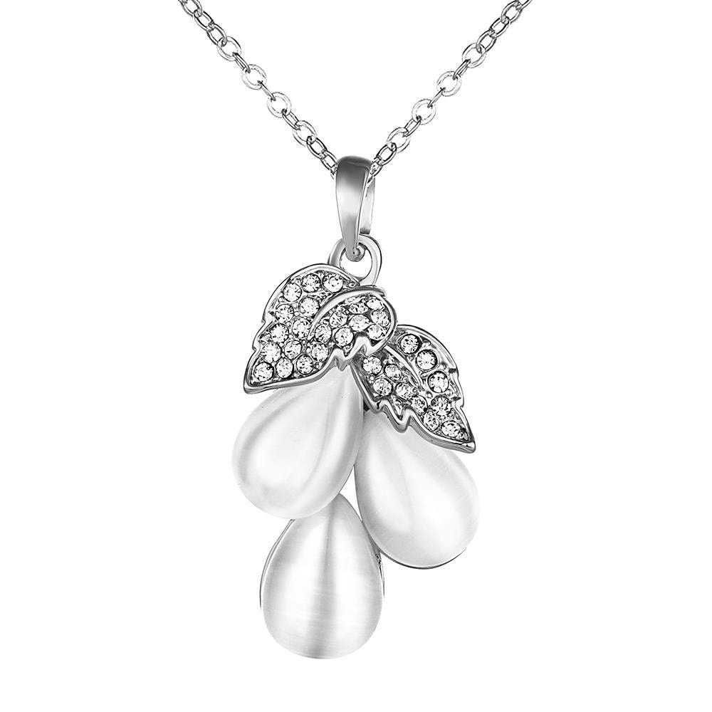 Vienna Jewelry White Gold Plated Ivory Drop Orchid Necklace