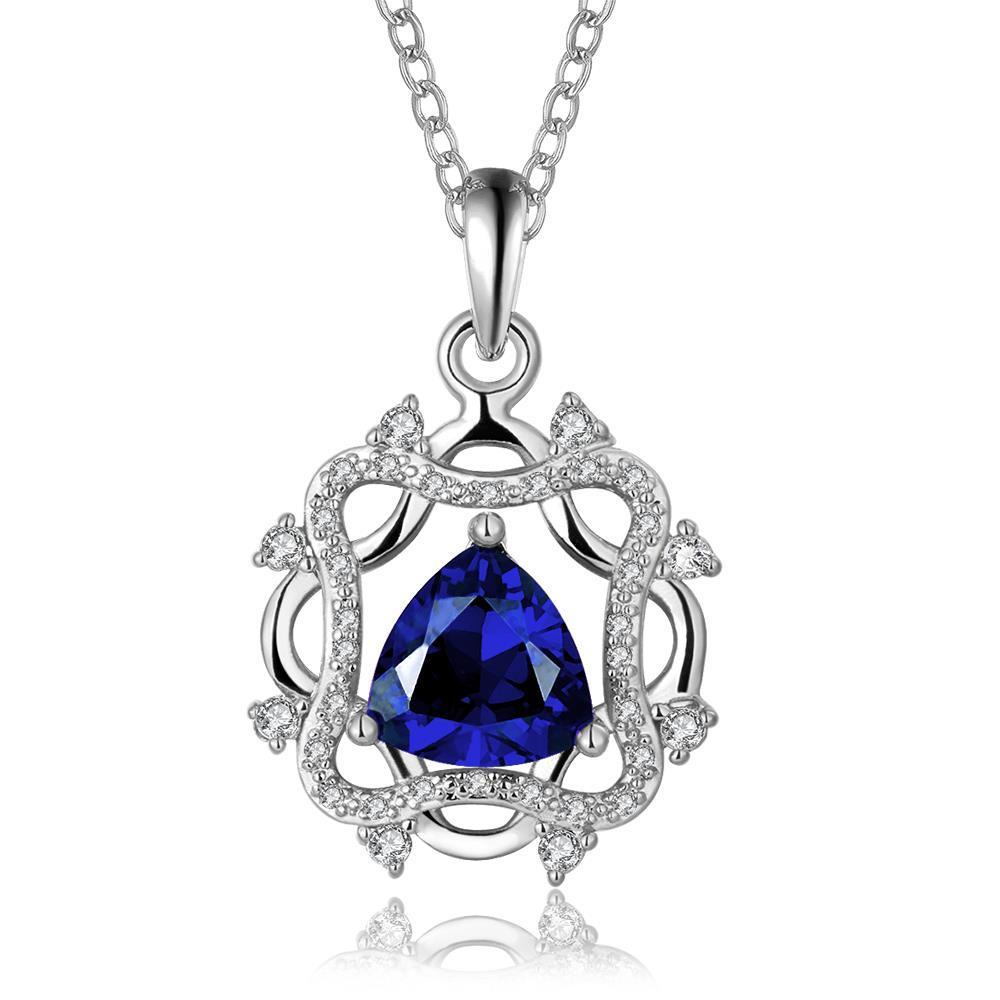 Vienna Jewelry White Gold Plated Laser Cut Spiral Sapphire Emblem Drop Necklace