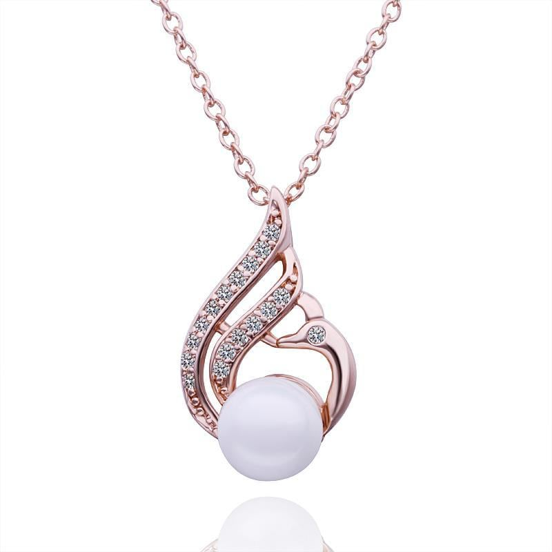 Vienna Jewelry Rose Gold Plated Curved Blossoming Pearl Necklace