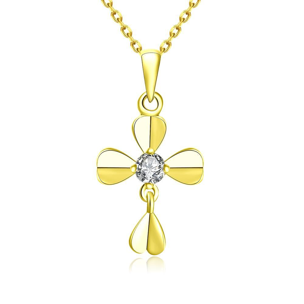 Vienna Jewelry Gold Plated Modern Cross Necklace