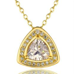 Vienna Jewelry Gold Plated Pyramid Drop Necklace - Thumbnail 0
