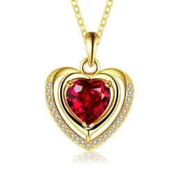 Vienna Jewelry Gold Plated Ruby Heart Shaped Necklace - Thumbnail 0