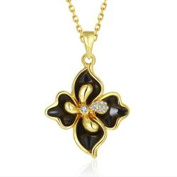 Vienna Jewelry Gold Plated Onyx Diamond Petals Necklace - Thumbnail 0