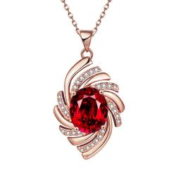 Vienna Jewelry Rose Gold Plated Ruby Gem Spiral Necklace - Thumbnail 0