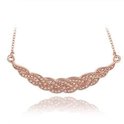Vienna Jewelry Rose Gold Plated Spiral Intertwined Necklace - Thumbnail 0