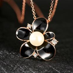 Vienna Jewelry Gold Plated Onyx Pearl Floral Necklace - Thumbnail 0