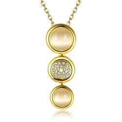 Vienna Jewelry Gold Plated Trio Circular Emblem Dangling Necklace