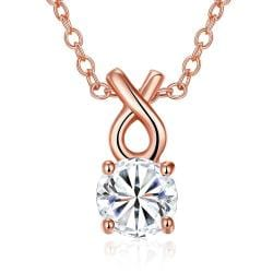 Vienna Jewelry Rose Gold Plated Classic Tiffany's Diamond Necklace - Thumbnail 0