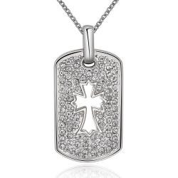 Vienna Jewelry White Gold Plated Cross Hollow Dog Tag Necklace - Thumbnail 0