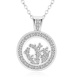 Vienna Jewelry White Gold Plated Crystal Filled Necklace - Thumbnail 0