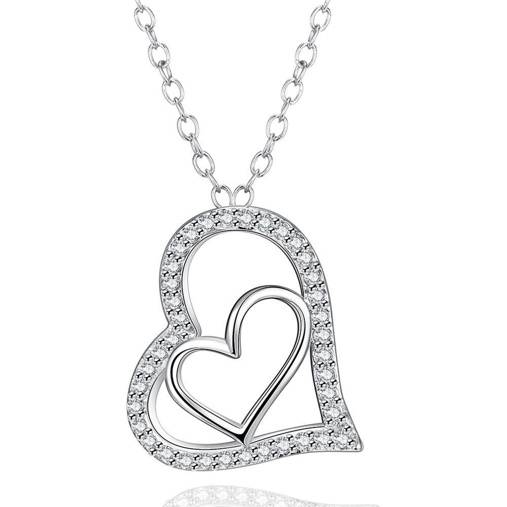 Vienna Jewelry White Gold Plated Love Within Necklace