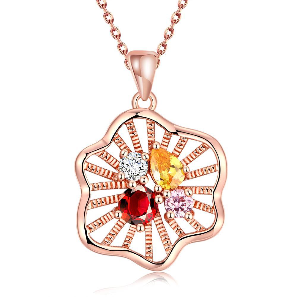 Vienna Jewelry Rose Gold Plated Quad Colorful Jewels Necklace