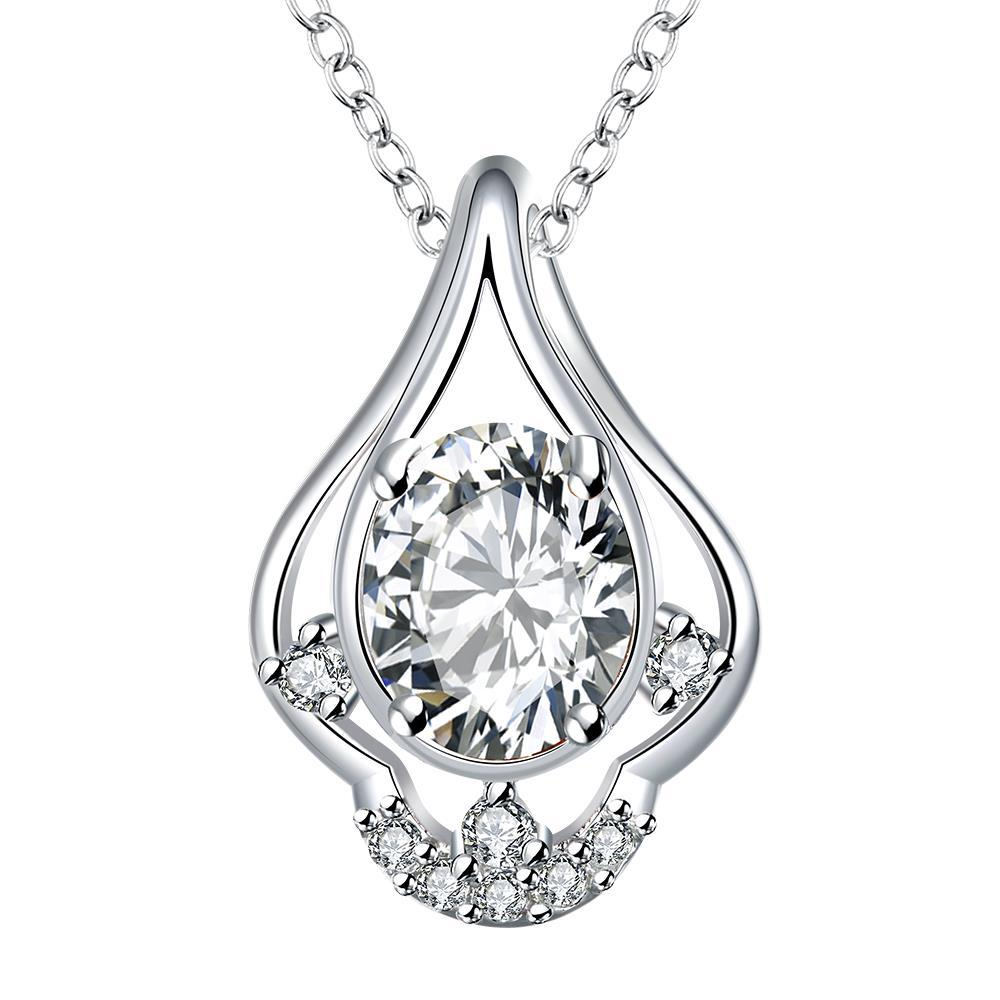 Vienna Jewelry Petite Crystal Stone Triangular Curved Drop Necklace
