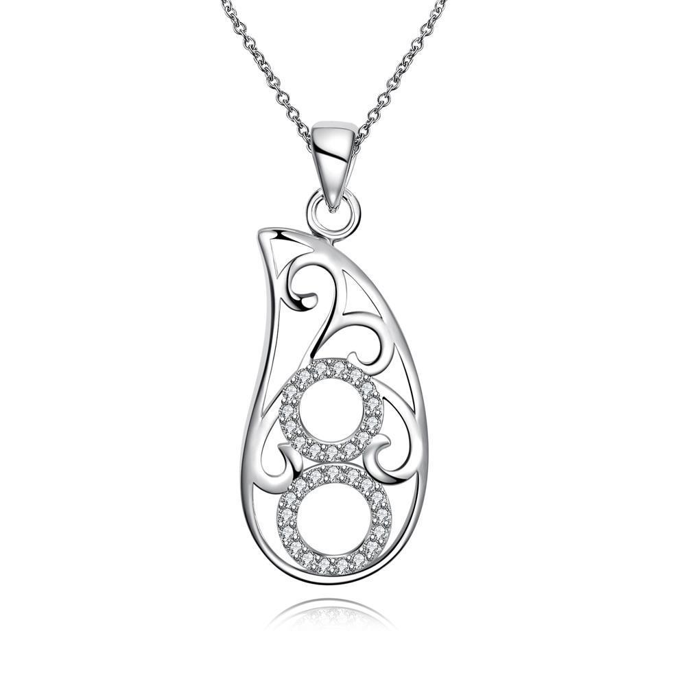 Vienna Jewelry Hollow Spiral Emblem Drop Necklace