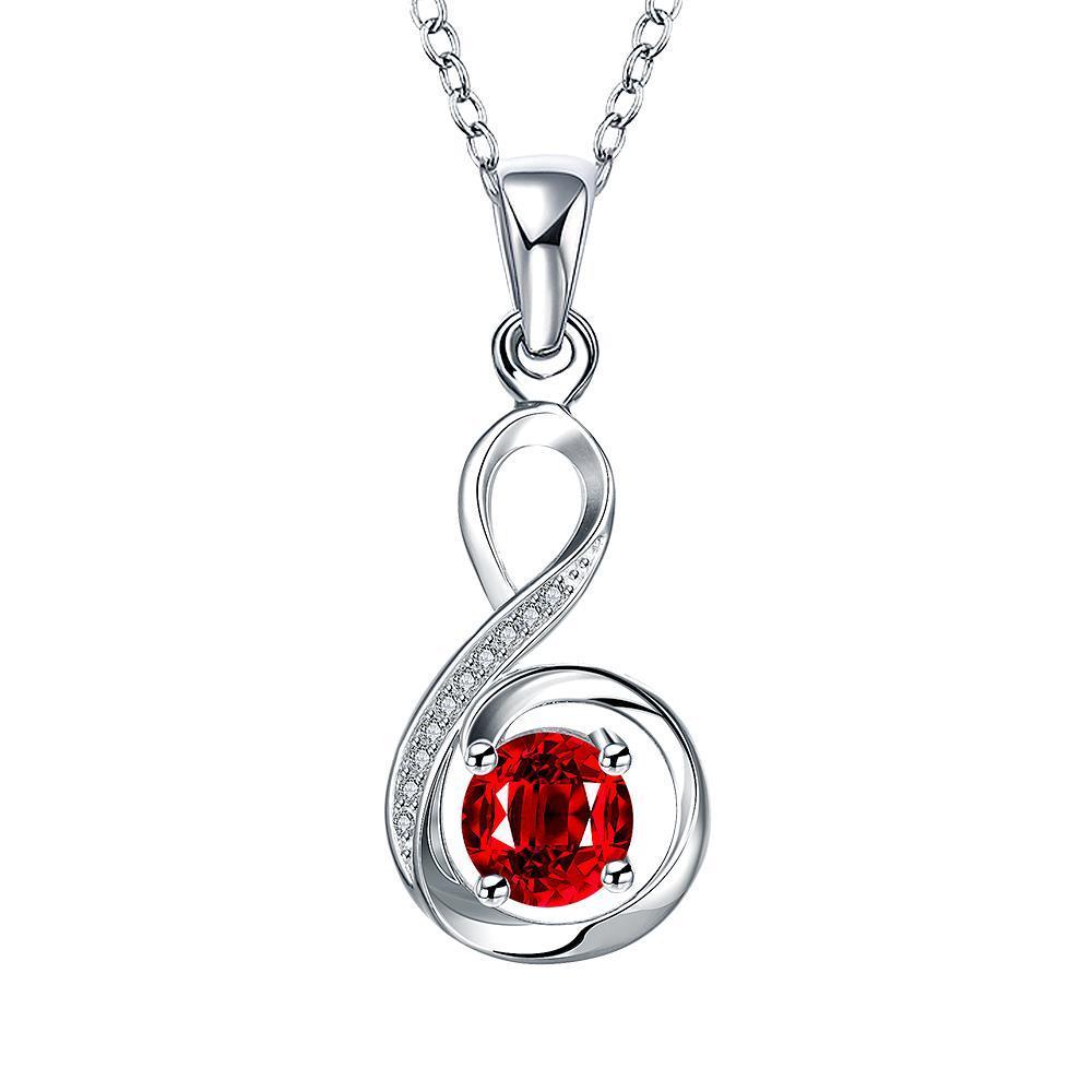 Vienna Jewelry Spiral Ruby Red Infinite Drop Necklace