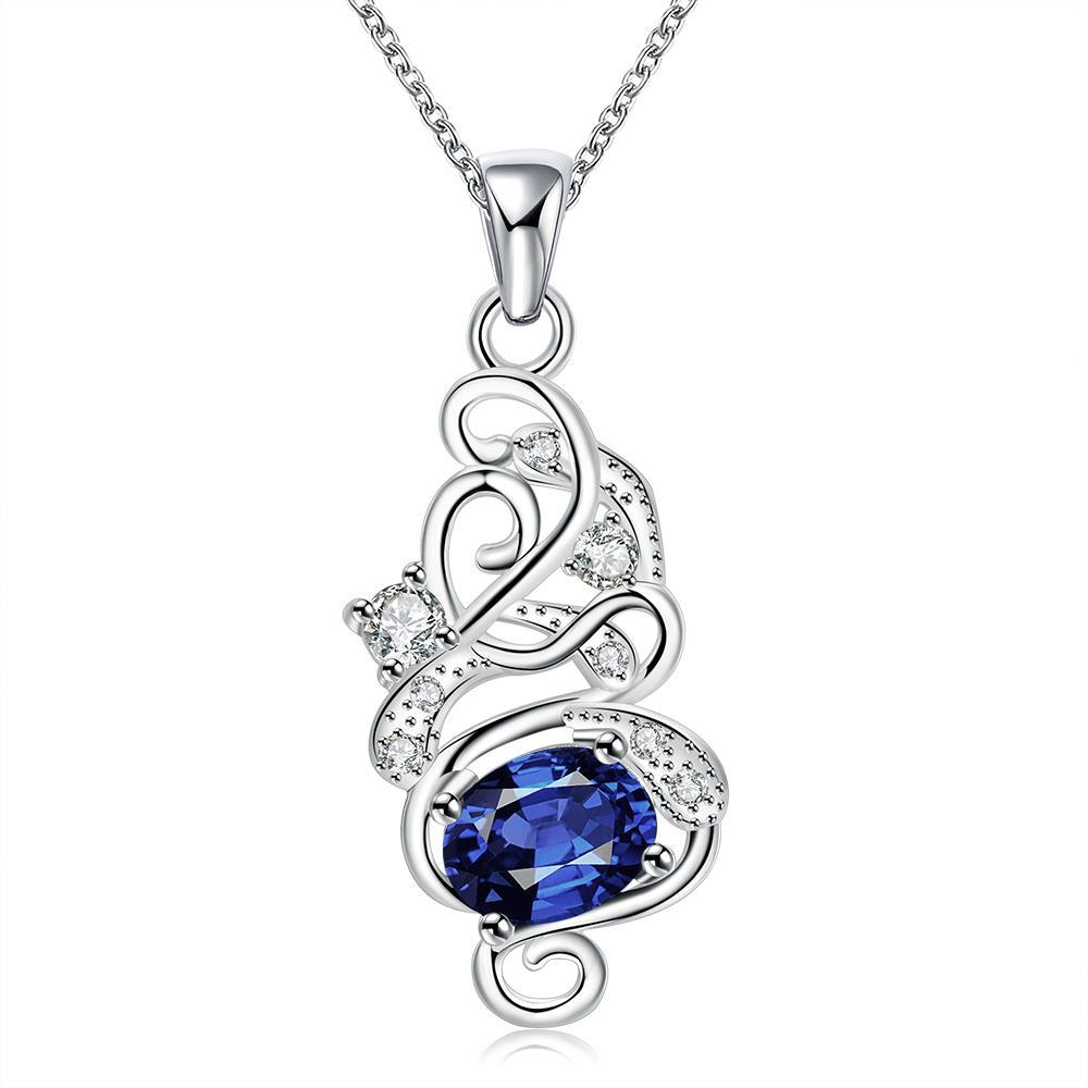 Vienna Jewelry Spiral Mock Sapphire Emblem Drop Necklace
