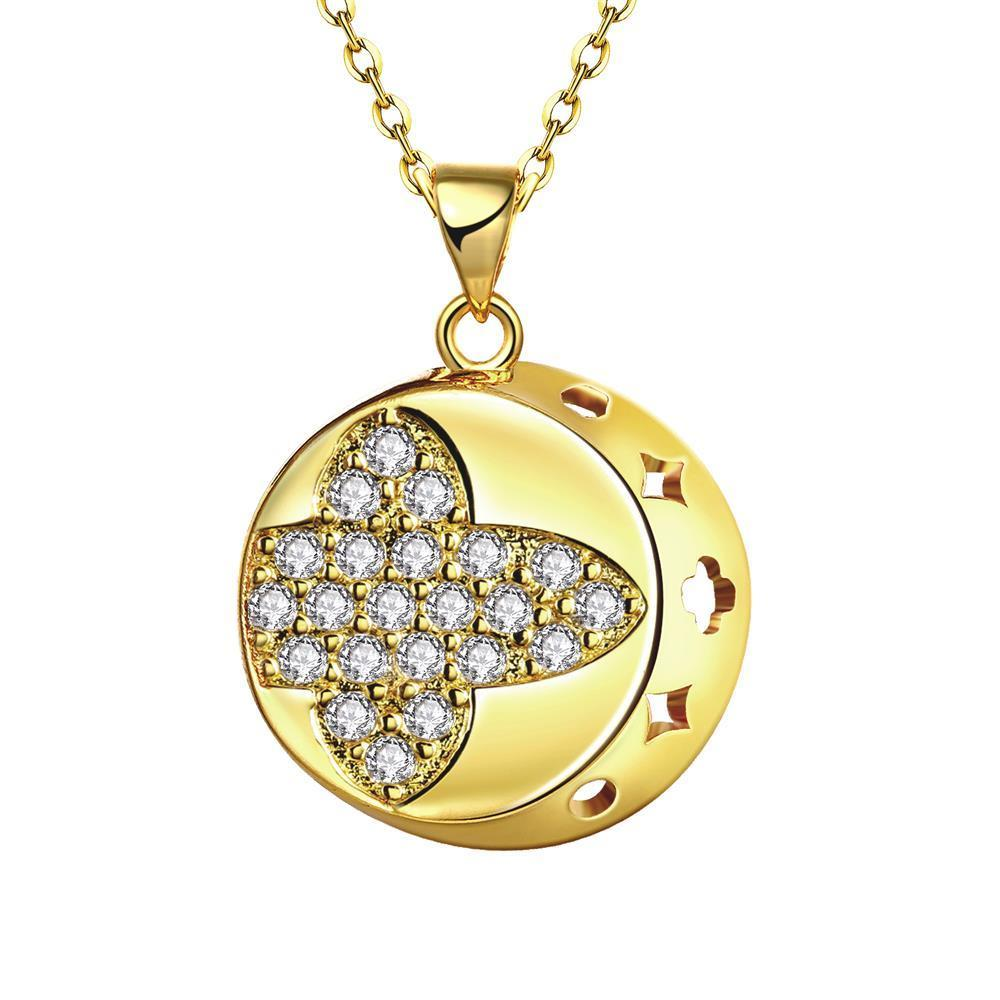 Vienna Jewelry Gold Plated Thick Cut Sphere Necklace