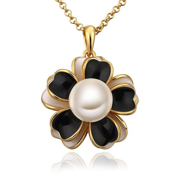 Vienna Jewelry Gold Plated Onyx Floral Pearl Emblem Necklace