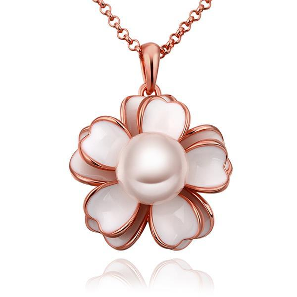 Vienna Jewelry Rose Gold Plated Ivory Floral Pearl Emblem Necklace