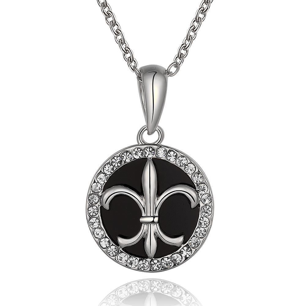 Vienna Jewelry White Gold Plated Spiral Saint Emblem Necklace