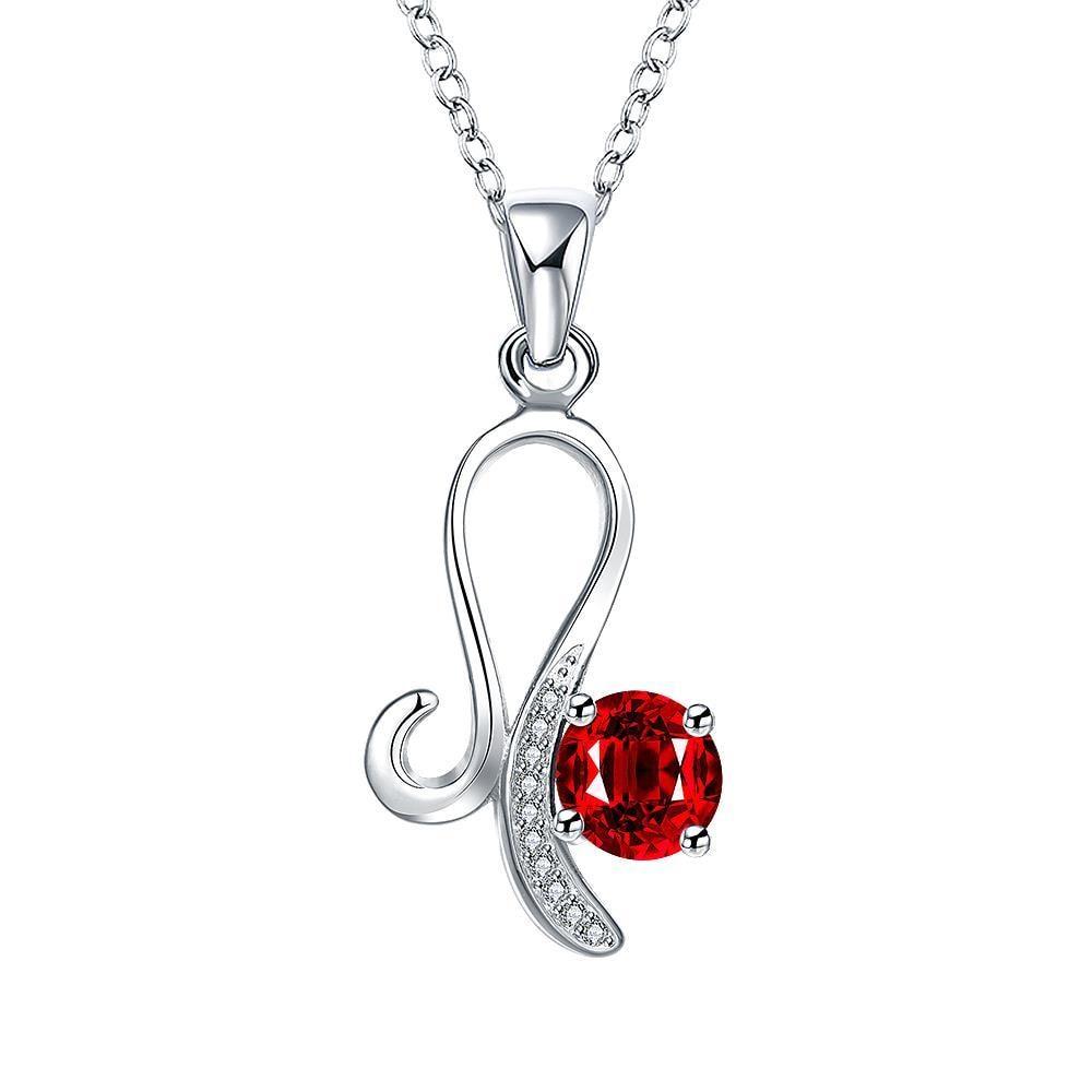 Vienna Jewelry Petite Mock Ruby Spiral Jewels Layering Drop Necklace