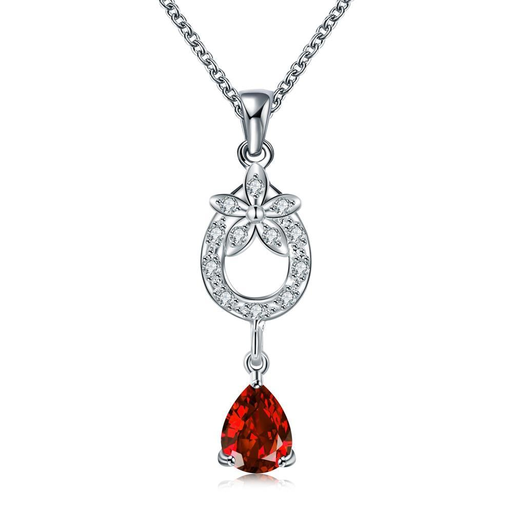 Vienna Jewelry Ruby Red Petite Dangling Gem Necklace
