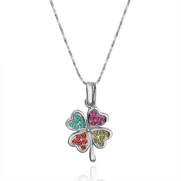 Vienna Jewelry White Gold Plated Rainbow Jewels Petite Clover Necklace