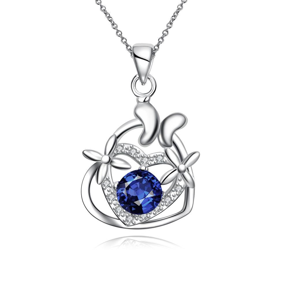 Vienna Jewelry Petite Mock Sapphire Abstract Cluster Emblem Necklace