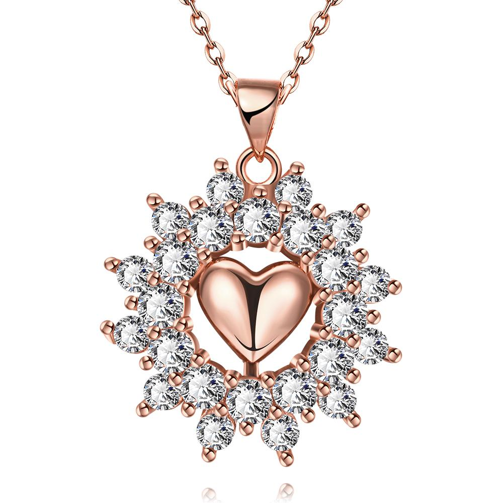 Vienna Jewelry Rose Gold Plated Petite Heart Snowflake Necklace