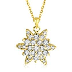 Vienna Jewelry Gold Plated Crystal Filled Snowflake Necklace - Thumbnail 0
