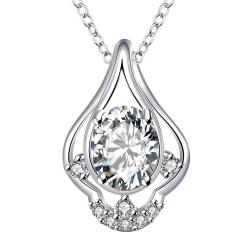 Vienna Jewelry Petite Crystal Stone Triangular Curved Drop Necklace - Thumbnail 0