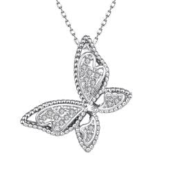 Vienna Jewelry White Gold Plated Large Butterfly Necklace - Thumbnail 0