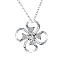 Vienna Jewelry Petite Crystal Stone Hollow Clover Drop Necklace - Thumbnail 0