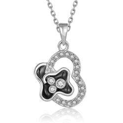 Vienna Jewelry White Gold Plated Curved Onyx Heart Necklace - Thumbnail 0