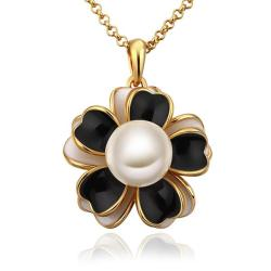Vienna Jewelry Gold Plated Onyx Floral Pearl Emblem Necklace - Thumbnail 0