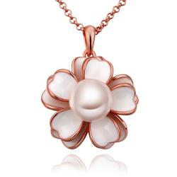 Vienna Jewelry Rose Gold Plated Ivory Floral Pearl Emblem Necklace - Thumbnail 0