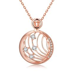 Vienna Jewelry Rose Gold Plated Laser Cut Crystal Covering Necklace - Thumbnail 0
