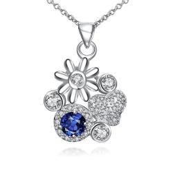 Vienna Jewelry Petite Sapphire Gem Multi Floral Charms Pendant Necklace - Thumbnail 0