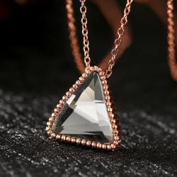 Vienna Jewelry Rose Gold Plated Onyx Pyramid Necklace - Thumbnail 0