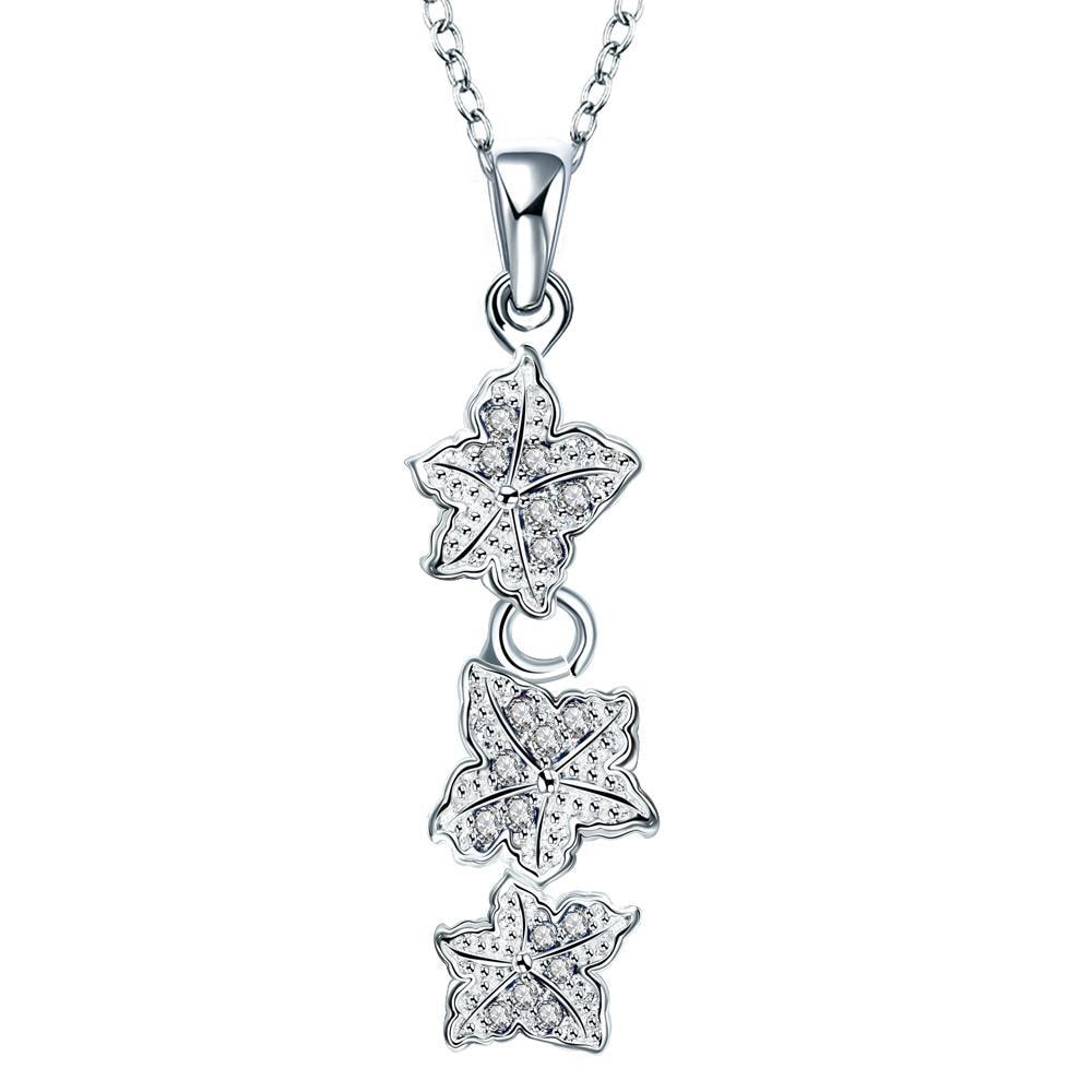 Vienna Jewelry Trio-Crystal Jewels Floral Dangling Drop Necklace