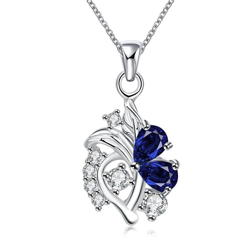Vienna Jewelry Mock Sapphire Spiral Abstract Emblem Drop Necklace - Thumbnail 0