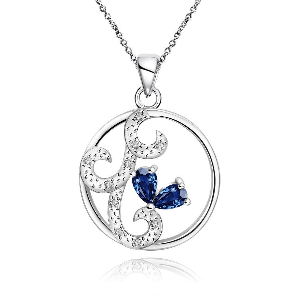 Vienna Jewelry Mock Sapphire Swirl Design Pendant Drop Necklace