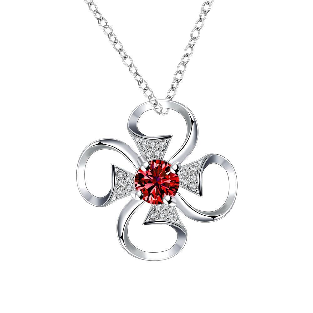 Vienna Jewelry Petite Ruby Red Hollow Clover Drop Necklace