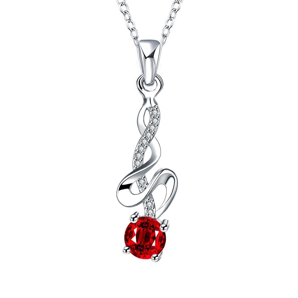 Vienna Jewelry Spiral Dangling Lining Petite Ruby Dangling Necklace