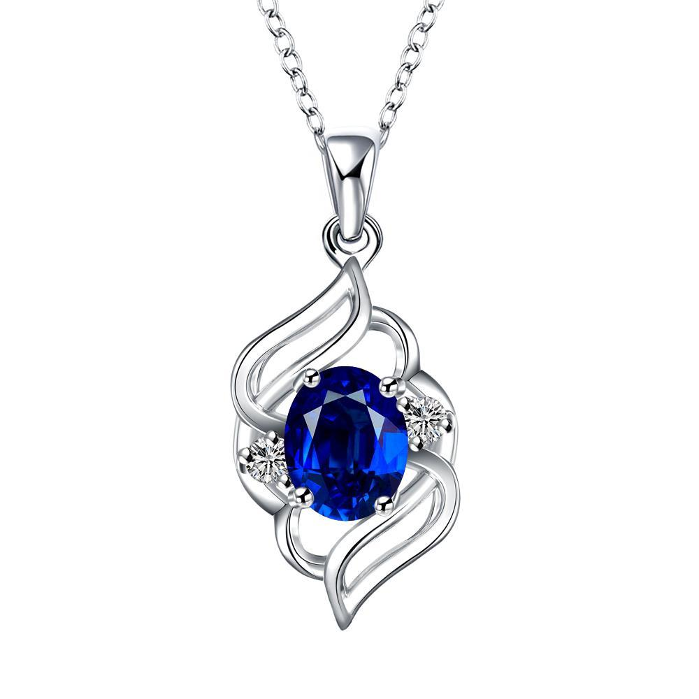 Vienna Jewelry Curved Abstract Petite Sapphire Pendant Necklace