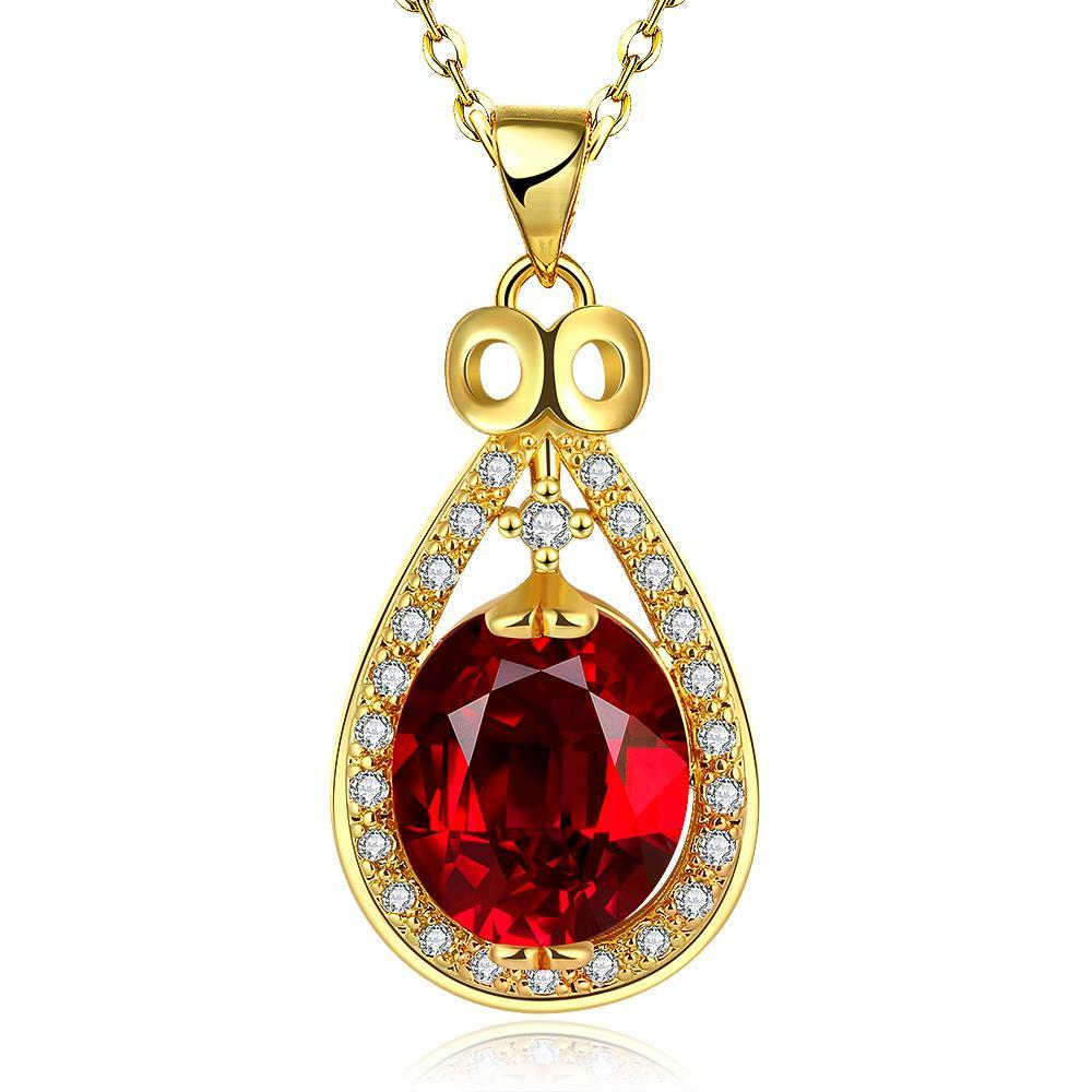 Vienna Jewelry Gold Plated Ruby Gem Spiral Drop Necklace