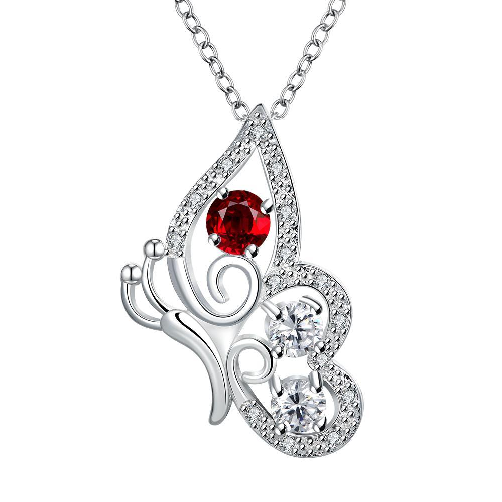 Vienna Jewelry Petite Ruby Red Spiral Butterfly Design Drop Necklace
